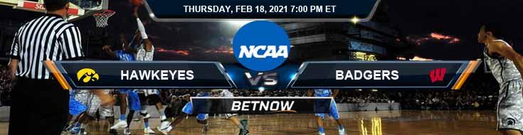 Iowa Hawkeyes vs Wisconsin Badgers 02-18-2021 Basketball Betting Picks & Spread