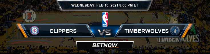 Los Angeles Clippers vs Minnesota Timberwolves 2-10-2021 NBA Odds and Picks