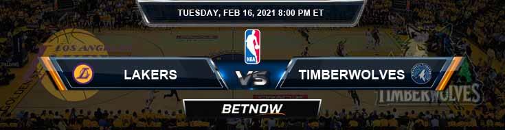 Los Angeles Lakers vs Minnesota Timberwolves 2-16-2021 NBA Odds and Picks