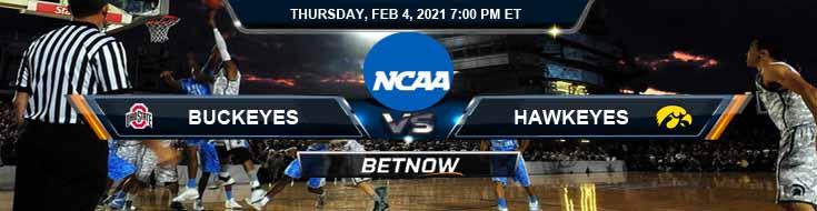 Ohio State Buckeyes vs Iowa Hawkeyes 02-04-2021 Previews NCAAB Spread & Game Analysis