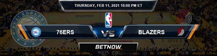 Philadelphia 76ers vs Portland Trail Blazers 2-11-2021 NBA Odds and Picks