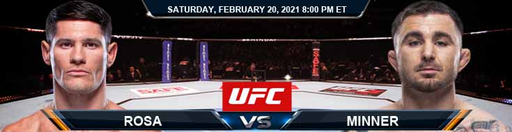 UFC Fight Night 185 Rosa vs Minner 02-20-2021 Predictions Previews and Spread