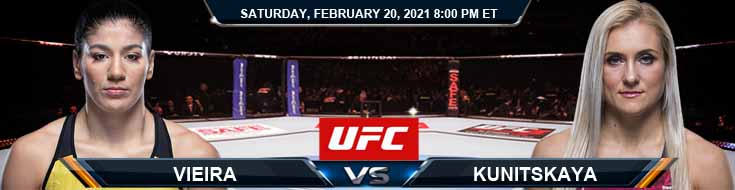 UFC Fight Night 185 Vieira vs Kunitskaya 02-20-2021 Picks Predictions and Previews