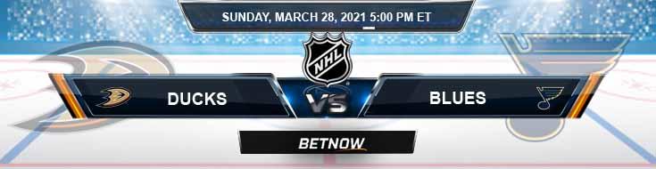 Anaheim Ducks vs St. Louis Blues 03-28-2021 Hockey Betting Odds and NHL Picks