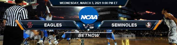 Boston College Eagles vs Florida State Seminoles 03/03/2021 Basketball Betting, Odds & Spread