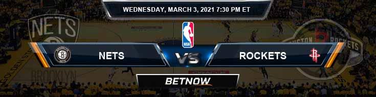 Brooklyn Nets vs Houston Rockets 3-3-2021 NBA Spread and Prediction