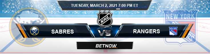 Buffalo Sabres vs New York Rangers 03-02-2021 Hockey Previews Spread and Game Analysis