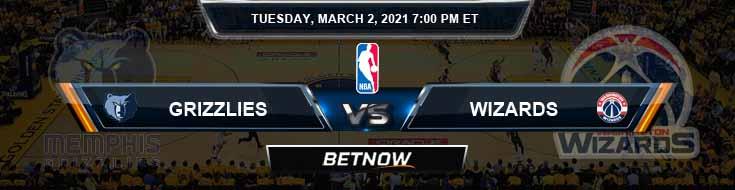 Memphis Grizzlies vs Washington Wizards 3/2/2021 NBA Spread and Picks