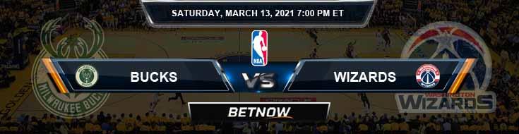 Milwaukee Bucks vs Washington Wizards 3-13-2021 Odds Spread and Picks