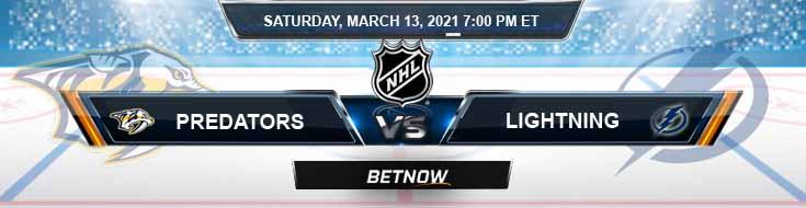 Nashville Predators vs Tampa Bay Lightning 03-13-2021 Results Hockey Betting and Odds