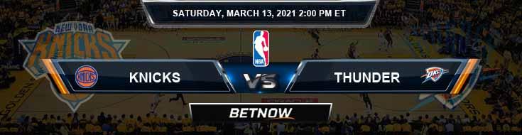 New York Knicks vs Oklahoma City Thunder 3-13-2021 NBA Spread and Picks