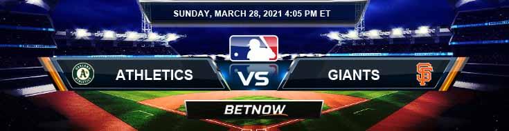 Oakland Athletics vs San Francisco Giants 03-28-2021 Odds Spring Training Picks and Predictions