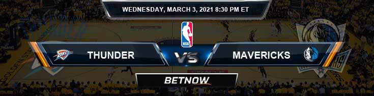 Oklahoma City Thunder vs Dallas Mavericks 3-3-2021 NBA Spread and Picks