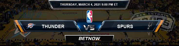 Oklahoma City Thunder vs San Antonio Spurs 3-4-2021 NBA Odds and Picks