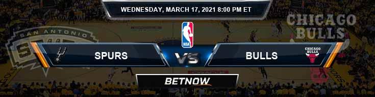 San Antonio Spurs vs Chicago Bulls 3-17-2021 Odds Picks and Previews