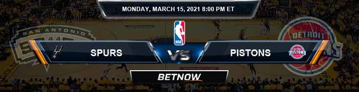 San Antonio Spurs vs Detroit Pistons 3-15-2021 NBA Picks and Previews