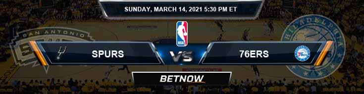 San Antonio Spurs vs Philadelphia 76ers 3-14-2021 Odds Spread and Picks