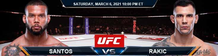 UFC 259 Santos vs Rakic 03-06-2021 Predictions Previews and Spread