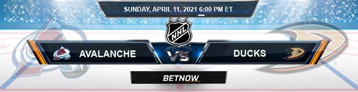 Colorado Avalanche vs Anaheim Ducks 04-11-2021 Odds Hockey Betting & Spread