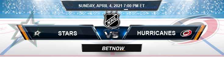 Dallas Stars vs Carolina Hurricanes 04-04-2021 Odds NHL Picks & Previews