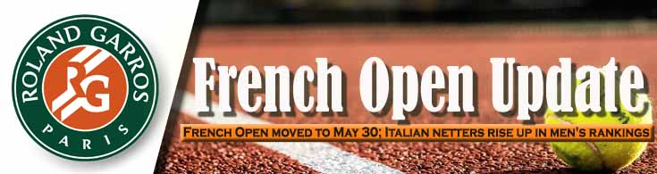 French Open Update Event Moved to May 30 Italian Netters Rise Up in Men's Rankings