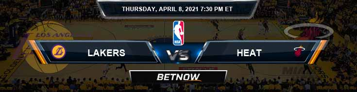 Los Angeles Lakers vs Miami Heat 4-8-2021 Spread Picks and Prediction