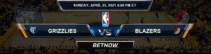Memphis Grizzlies vs Portland Trail Blazers 4-25-2021 NBA Odds and Picks