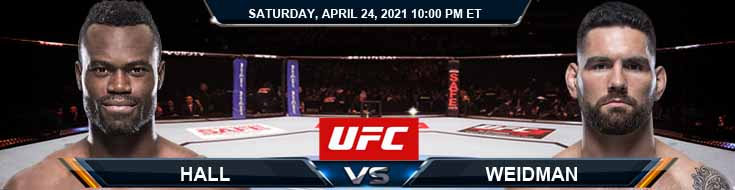 UFC 261 Hall vs Weidman 04-24-2021 Previews Spread and Fight Analysis