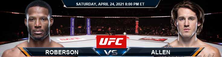 UFC 261 Roberson vs Allen 04-24-2021 Forecast Tips and Results