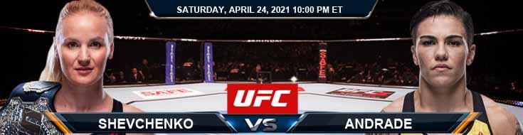 UFC 261 Shevchenko vs Andrade 04-24-2021 Predictions Previews and Spread