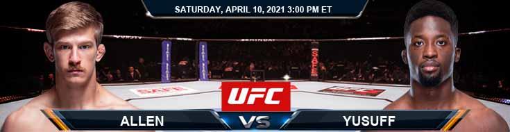 UFC on ABC 2 Allen vs Yusuff 04-10-2021 Predictions Previews and Spread