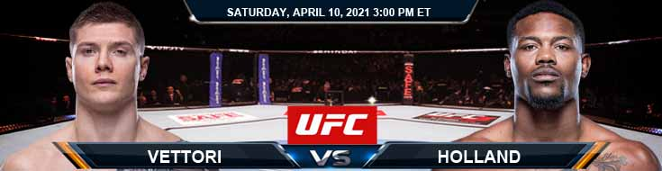 UFC on ABC 2 Holland vs Vettori 04-10-2021 Odds Picks and Predictions
