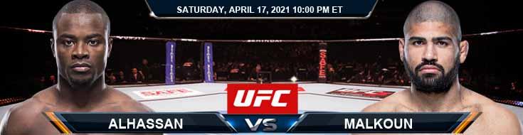 UFC on ESPN 22 Alhassan vs Malkoun 04-17-2021 Previews Spread and Fight Analysis
