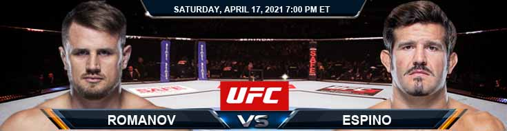 UFC on ESPN 22 Romanov vs Espino 04-17-2021 Predictions Previews and Spread