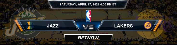 Utah Jazz vs Los Angeles Lakers 4-17-2021 Odds Picks and Previews