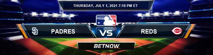 San Diego Padres vs Cincinnati Reds 07-01-2021 MLB Baseball Tips and Forecast