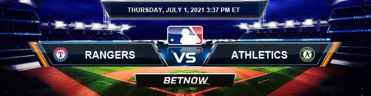 Texas Rangers vs Oakland Athletics 07-01-2021 Predictions Previews and Spread