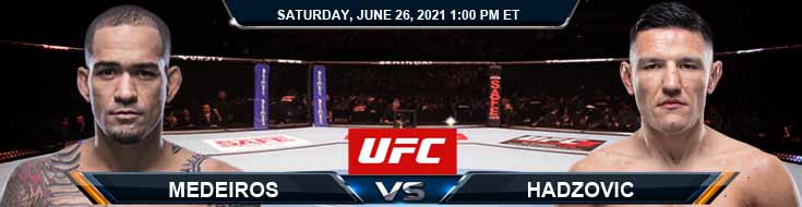 UFC Fight Night 190 Medeiros vs Hadzovic 06-26-2021 Predictions Previews and Spread