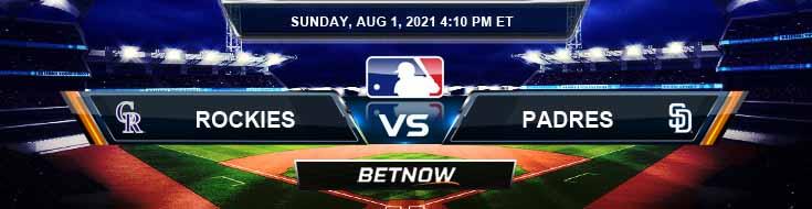 Colorado Rockies vs San Diego Padres 08-01-2021 Baseball Betting Picks and Odds