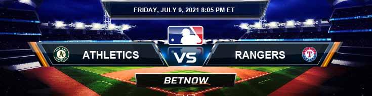 Oakland Athletics vs Texas Rangers 07-09-2021 Odds Picks and Predictions
