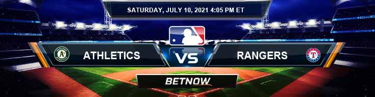 Oakland Athletics vs Texas Rangers 07-10-2021 Picks Predictions and Spread