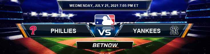 Philadelphia Phillies vs New York Yankees 07-21-2021 Game Analysis Baseball Tips and Forecast