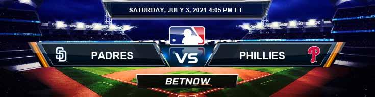 San Diego Padres vs Philadelphia Phillies 07-03-2021 Baseball Betting Analysis and Odds