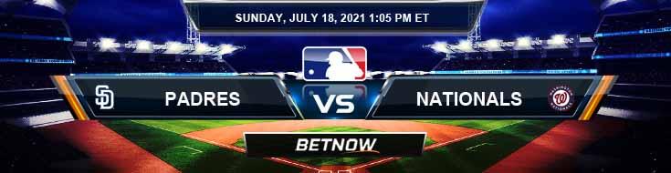 San Diego Padres vs Washington Nationals 07-18-2021 Game Analysis Baseball Tips and Forecast