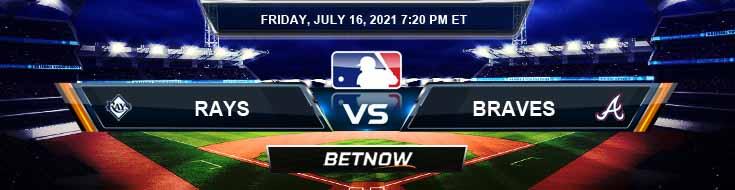 Tampa Bay Rays vs Atlanta Braves 07-16-2021 Predictions Preview and Spread