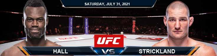 UFC ON ESPN 28 Hall vs Strickland 07-31-2021 Odds Picks and Predictions