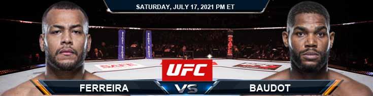 UFC on ESPN 26 Ferreira vs Baudot 07-17-2021 Odds Picks and Predictions