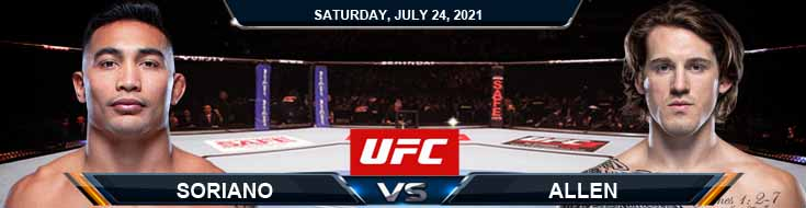 UFC on ESPN 27 Soriano vs Allen 07-24-2021 Tips Analysis and Odds