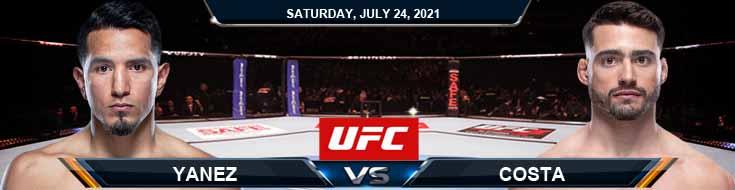 UFC on ESPN 27 Yanez vs Costa 07-24-2021 Odds Picks and Predictions