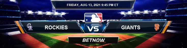 Colorado Rockies vs San Francisco Giants 08-13-2021 Spread Game Analysis and Baseball Tips